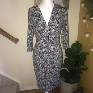 WHBM fitted career dress black graphic print M